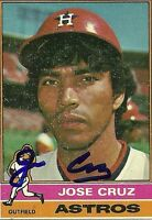 JOSE CRUZ HOUSTON ASTROS SIGNED AUTOGRAPHED 1976 TOPPS CARD #321 W/COA