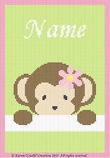Crochet Patterns - PEEK-A-BOO  BABY GIRL MONKEY - PERSONALIZED *BEGINNER PATTERN