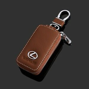 Leather Car Key Protection Bag Car Key Holder Keychain Ring Case Fit for Lexus