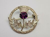 Scottish Sterling Silver Thistle Brooch, WBs ( Ward Brothers ) Amethyst Gemstone