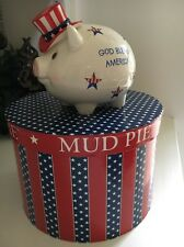 Mud Pie All American Piggy Boy Pig Bank  w/Original Round Box Patriotic