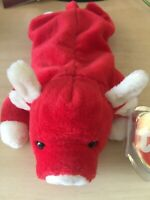 """Rare Retired TY Beanie Babies """"SNORT"""" The Bull With Errors"""