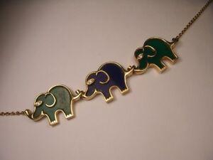 Designer 18K Gold Diamond Elephant Malachite Lapis Agate Necklace Pendant