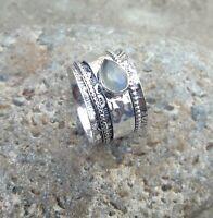 Labradorite Solid 925 Sterling Silver Spinner Meditation Statement Ring Sr722