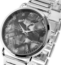 Damen Armbanduhr Grau/Perlmutt/Silber Crystal Metallarmband Excellanc 1800076
