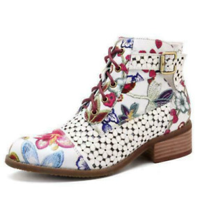 Fashion Women's Floral Print Block Heels Lace Up Shoes Ankle Boots Size Ting1