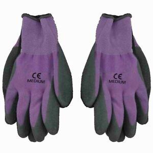 Women's Ladies Purple Small Medium Rubber Grip Stretch Garden Gardening Gloves
