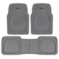 Deep Dish Heavy Duty Rubber Car Floor Mats 3pc Front Rear in Gray All Weather