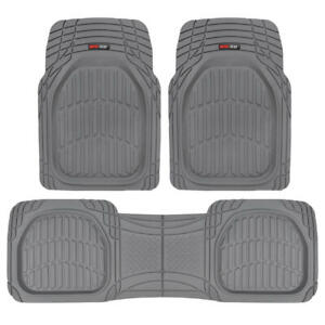 3pc Front Rear Gray All Weather Deep Dish Heavy Duty Rubber Car Floor Mats