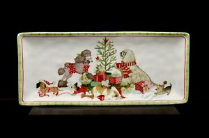 Pier 1 Christmas Morning Pups 14-Inch Serving Platter Tray RETIRED MINT