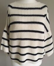 BNWT Marks And Spencer Cream Navy Stripe Jumper Frill Sleeve Size Medium