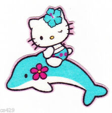 "2"" HELLO KITTY SANRIO STATE OF USA NEW FLORIDA DOLPHIN FABRIC APPLIQUE IRON ON"