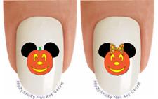 Nail Decals #726H HOLIDAY Halloween Mickey Pumpkin Ears WaterSlide Nail Transfer