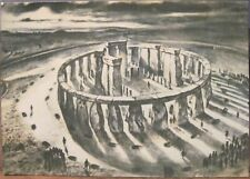 Illus Art Postcard STONEHENGE from East England UK Alan Sorrell Drawing Druids