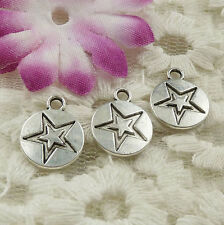 Free Ship 154 pieces Antique silver star charms 14x11mm #4524