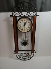 Howard Miller Decorative Wrought Iron & Wood Wall Clock w Swinging Pendulum