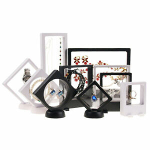 3D Floating View Jewelry Coin Display Frame Holder Box Case Black/White Stand