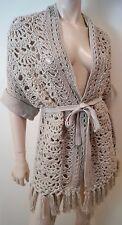NANETTE LEPORE Beige Loose Knit Fringe Trim 3/4 Sleeve Belted Cardigan Sz:M