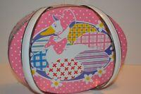 VTG Oval Metal Sewing Tin Easter Basket Pink Duck Dots