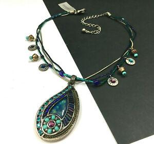 New CHICO'S Silver Blue OPAL Pendant Necklace Turquoise Rhinestone Beaded KK20K