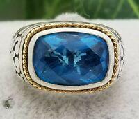 Silver 18K Gold Topaz Ring-Vintage Estate-Blue Topaz-Effy Ring-Size 7-SS 925