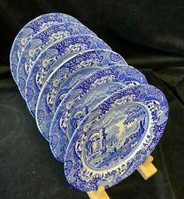 More details for vintage spode blue italian black backstamp set 6 x side plates 19cm / 71/2