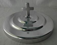 "Communion Plate Cover Silvertone Lord's Supper 6 1/2"" Cross Mirror Finish NEW"