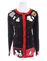 Quacker Factory Embroidered Beaded Dog Poodle Cardigan Sweater Black Women Sz L