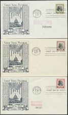"""#832-834 #62 """"PRESIDENT SERIES"""" FDC COVERS BY HISTORIC ART / GILBERT BS8598"""
