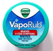 *BUY 2 GET 1 FREE* 1 x 5ml VICKS VAPORUB Cold Flu Camphor Eucalyptus Menthol Rub