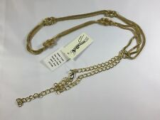 Amiee Lynn Gold Cord Chain Belt with Knotted Details Plus Stainless Steel NEW