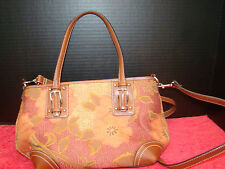 Fossil Brown Purse with Floral Design - Baguette or Shoulder - Medium - Used