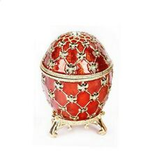 "Faberge Russian Style Coronation Egg Jewelry Box w/Clock Red 2.75""/8cm"