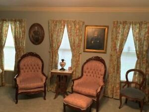 """Waverly Spring Bling lined curtains & tie backs 84"""" length 6 panels/3 windows"""