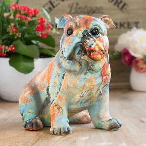 Multi Colour British English Bulldog Ornament Statue Figurine Sculpture Gift