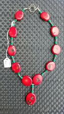 Bamboo Coral Malachite Red and Turquoise Colored Sterling Silver Necklace