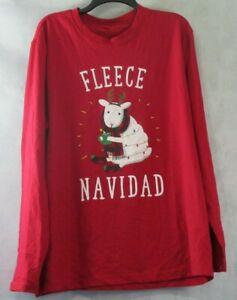 Family Pajamas Men's Long-Sleeve Pajama Top, Red Fleece Navidad, XL