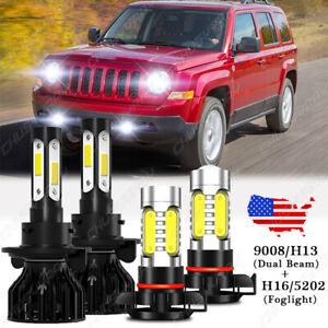 For Jeep Patriot 2010-2017 LED Headlight High/Low Beam + Fog Light Bulbs kit 4x
