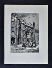 1878 Picturesque Print - George Inn Glastonbury Pilgrims Inn Hotel - England UK