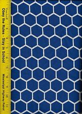 QUILT FABRIC: 100% COTTON, ROYAL BLUE HONEYCOMB, By The Yard