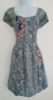 Womens Joe Browns Blue Embroidered Pleated Boho Dress With Pockets 14 New.