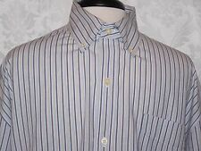 Chaps by Ralph Lauren Shirt Size XLT L/S Striped White Logo Button Down Casual