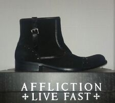 Affliction Mens Black Suede Buckle Boots Shoes With Studs Size 9 New NIB