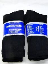 6pr Big Mens Loose Fit Diabetic Crew Socks Black 13-15 king size