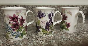 "3 Roy Kirkham ""Countryside"" fine bone china floral mugs"