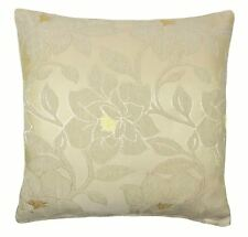 """LUXURY CHENILLE FLORAL FLOWER THICK CREAM BEIGE GOLD CUSHION COVER 18"""" - 45CM"""