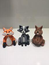 Woodland Animals 3D Cake Topper Fondant, Fox, Raccoon, Squirrel.