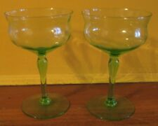Easy to Go Green w/ Depression Glass Wine Goblets! Pair, Great Shape
