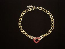 NWT Heart Necklace 14K GoldPlated Made with /Red Swarovski Crystal Elements