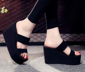 Summer Womens High Wedge Heel Platform Open Toe Slip On Casual Slippers Shoes